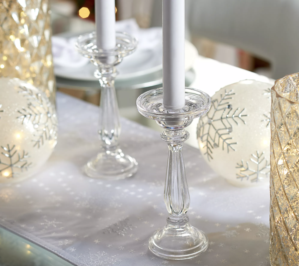 """Set of (2) 8"""" Glass Pedestal Candle Holders by Valerie (Photo: QVC)"""