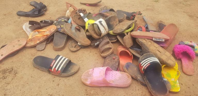 Shoes of abducted boarding school students were scattered on the floor after the attack