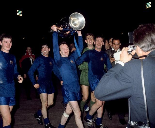 Nobby Stiles celebrates winning the European Cup in 1968