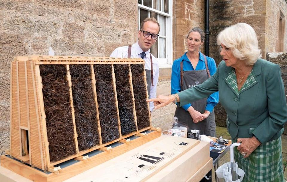 Camilla, Duchess of Cornwall, meets with food and craft producers outside the village hall during a visit to Alloway, Ayrshir (REUTERS)