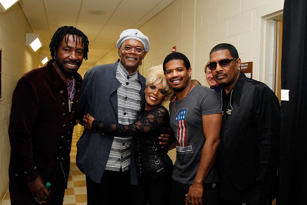 """Actor Samuel L. Jackson also joined in the festivities, hanging out with inductees from the Atlanta funk-rock band Mother's Finest backstage. Ben Rose/<a href=""""http://www.wireimage.com"""" target=""""new"""">WireImage.com</a> - September 17, 2011"""