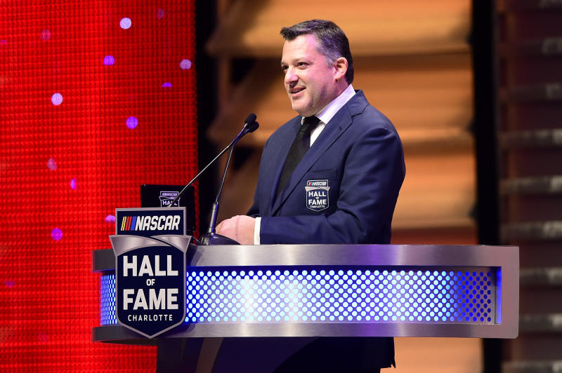 CHARLOTTE, NORTH CAROLINA - JANUARY 31: NASCAR Hall of Fame inductee Tony Stewart speaks during the 2020 NASCAR Hall of Fame Induction Ceremony at Charlotte Convention Center on January 31, 2020 in Charlotte, North Carolina. (Photo by Jared C. Tilton/Getty Images)