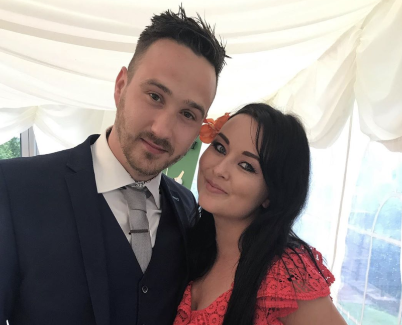 Aimee Godden, 34, pictured with her partner Ryan McQueen, 35.