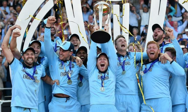 England captain Eoin Morgan lifts the World Cup trophy