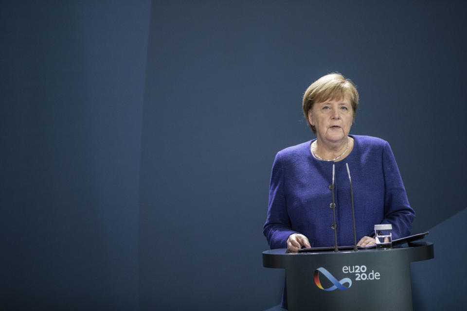 BERLIN, GERMANY - NOVEMBER 09: German Chancellor Angela Merkel speaks to the media following the projection by news outlets of Joe Biden as the winner of the recent U.S. presidential election on November 09, 2020 in Berlin, Germany. German government leaders have reacted with relief and congratulations following the projected win by Democrat Joe Biden over Republic incumbent Donald Trump in the U.S. presidential election. (Photo by Maja Hitij/Getty Images)