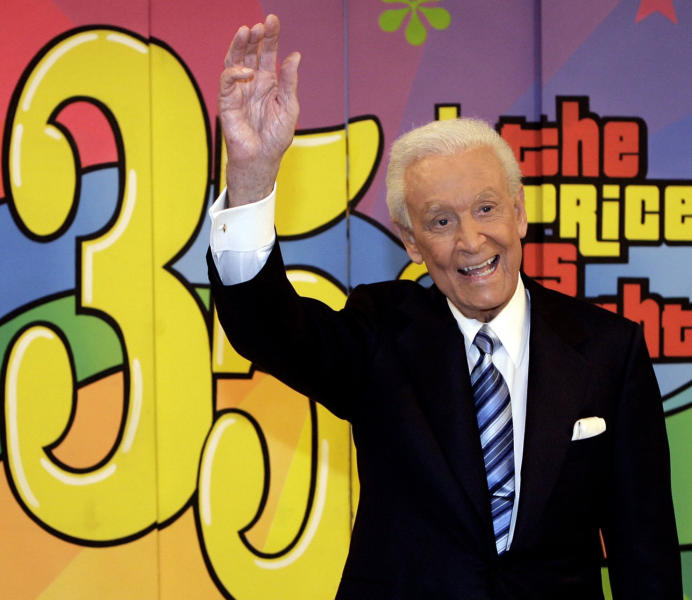 """FILE - In this June 6, 2007 file photo shows game show host Bob Barker gesturing during the taping of his final episode of """"The Price Is Right"""" in Los Angeles. The 40th anniversary special of the popular daytime game show aired Tuesday, Sept. 4, 2012 on CBS. (AP Photo/Damian Dovarganes, file)"""