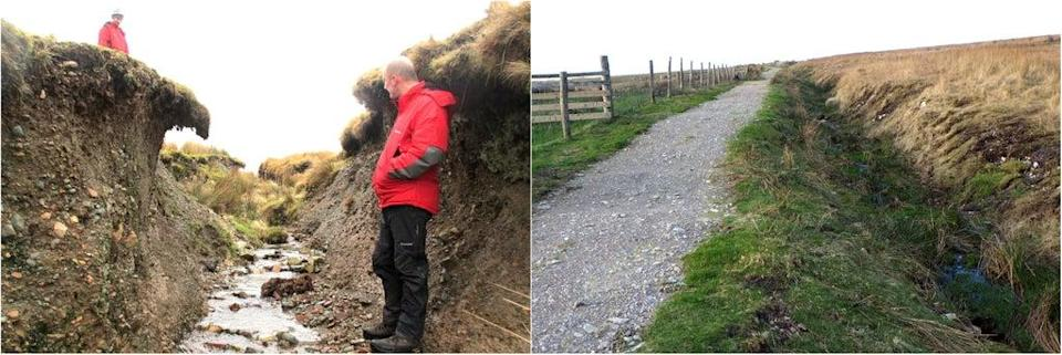 Before and after pictures of Bleng in Wasdale (Fix the Fells/PA) (PA Media)