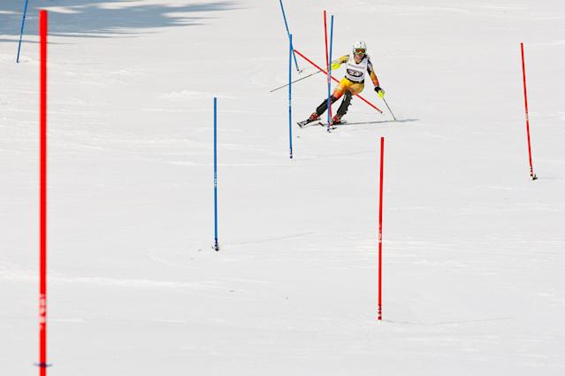 OFTERSCHWANG, GERMANY - MARCH 04: (FRANCE OUT) Erin Mielzynski of Canada takes 1st place competes during the Audi FIS Alpine Ski World Cup Women's Slalom on March 4, 2012 in Ofterschwang, Germany. (Photo by Stanko Gruden/Agence Zoom/Getty Images)
