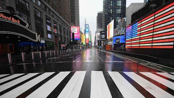 PHOTO: A nearly empty Times Square is seen, March 23, 2020, in New York. (Angela Weiss/AFP/ Getty Images)