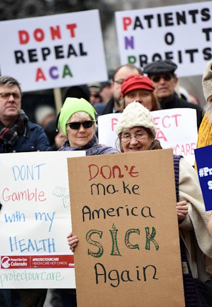 A rally in support of the Affordable Care Act in Denver, Colorado in January 2017 (AFP Photo/Chris Schneider)