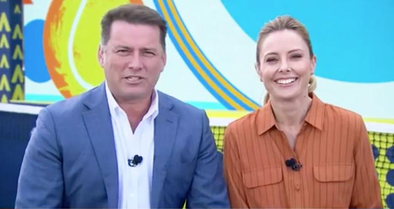 Karl Stefanovic and Allison Langdon on the set of the Today showfilming from the 2020 Australian Open.