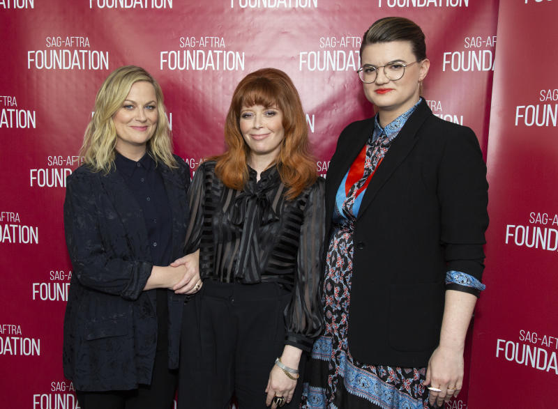 "Amy Poehler, Natasha Lyonne and writer/director Leslye Headland attend SAG-AFTRA Foundation Conversations with ""Russian Doll"" on June 03, 2019. (Photo by Vincent Sandoval/Getty Images)"