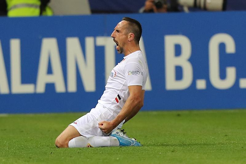 BERGAMO, ITALY - SEPTEMBER 22: Frank Ribery of ACF Fiorentina celebrates after scoring a goal during the Serie A match between Atalanta BC and ACF Fiorentina at Gewiss Stadium on September 22, 2019 in Bergamo, Italy. (Photo by Gabriele Maltinti/Getty Images)