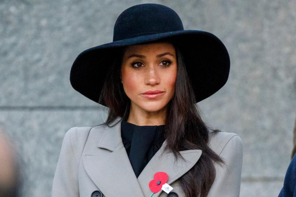 Meghan Markle, the US fiancee of Britain's Prince Harry, attends an Anzac Day dawn service at Hyde Park Corner in London on April 25, 2018. - Anzac Day commemorates Australian and New Zealand casualties and veterans of conflicts and marks the anniversary of the landings in the Dardanelles on April 25, 1915 that would signal the start of the Gallipoli Campaign during the First World War. (Photo by Tolga AKMEN / various sources / AFP)        (Photo credit should read TOLGA AKMEN/AFP via Getty Images)