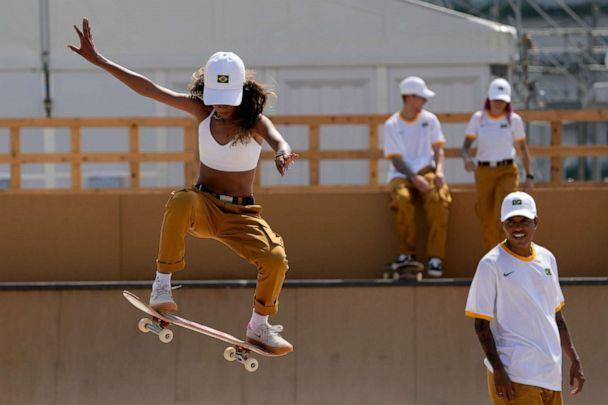 PHOTO: Rayssa Leal, of Brazil, practices for the skateboarding competition in the 2020 Summer Olympics, Tuesday, July 20, 2021, at the Ariake Urban Sports Park in Tokyo. (Charlie Riedel/AP)