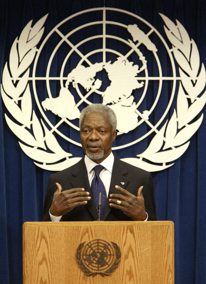 FILE - In this Tuesday March 21, 2005 file photo United Nations Secretary General Kofi Annan addresses a news conference at the United Nations. Annan, one of the world's most celebrated diplomats and a charismatic symbol of the United Nations who rose through its ranks to become the first black African secretary-general, has died. He was 80. (AP Photo/Gregory Bull, File)