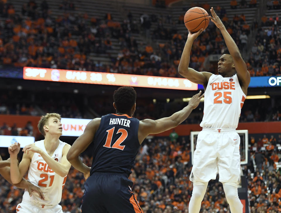 Syracuse guard Tyus Battle, right, shoots while defended by Virginia guard De'Andre Hunter during the second half of an NCAA college basketball game in Syracuse, N.Y., Monday, March 4, 2019. (AP Photo/Adrian Kraus)