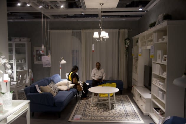 Customers checking the furnishings inside Ikea's first store in India on Aug. 9 in Hyderabad.