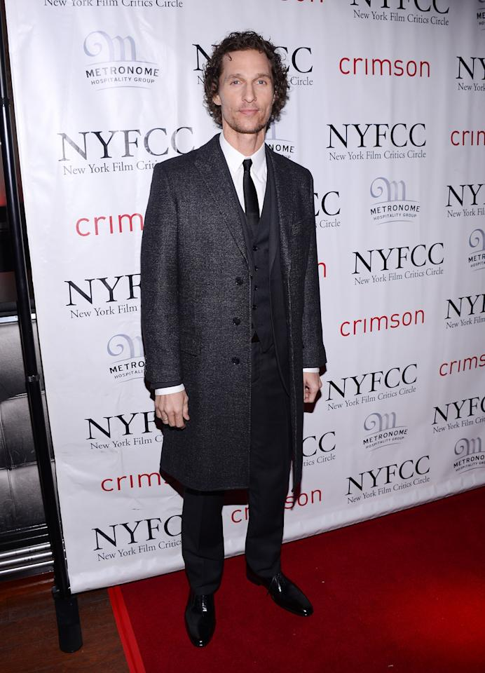 NEW YORK, NY - JANUARY 07:  Actor Matthew McConaughey attends the 2012 New York Film Critics Circle Awards at Crimson on January 7, 2013 in New York City.  (Photo by Stephen Lovekin/Getty Images)