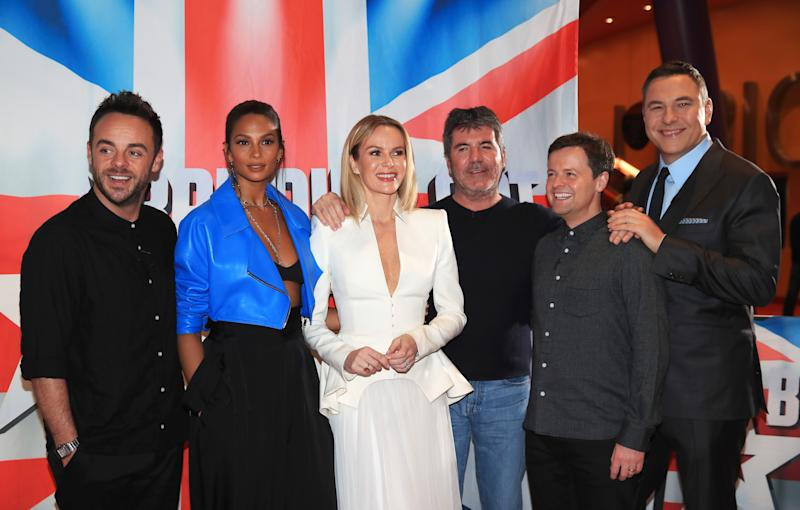 (from left) Anthony McPartlin, Alesha Dixon, Amanda Holden, Simon Cowell, Declan Donnelly and David Walliams attend the auditions for Britain's Got Talent at The Lowry in Salford.