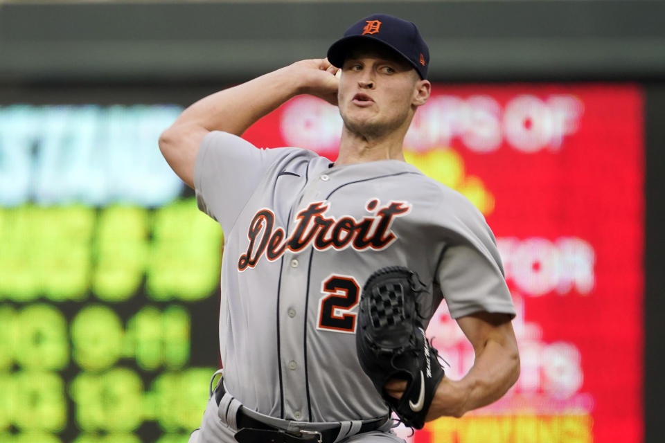 Detroit Tigers pitcher Matt Manning throws against the Minnesota Twins in the first inning of a baseball game, Monday, July 26, 2021, in Minneapolis. (AP Photo/Jim Mone)