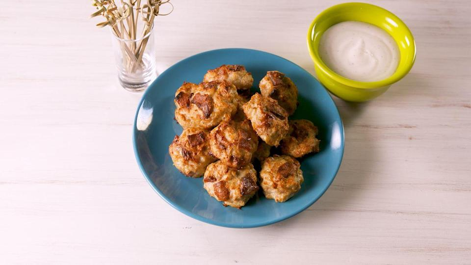 """<p>The keto way to do chicken nuggs.</p><p>Get the recipe from <a href=""""https://www.delish.com/cooking/recipe-ideas/a19992298/bacon-ranch-chicken-poppers-recipe/"""" rel=""""nofollow noopener"""" target=""""_blank"""" data-ylk=""""slk:Delish"""" class=""""link rapid-noclick-resp"""">Delish</a>. </p>"""