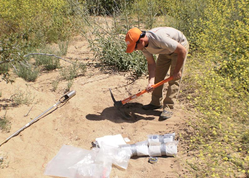 In this photo taken June 1, 2010, and provided by the U.S. Geological Survey, Joseph Daniel, at the time a student at North Carolina State University, collects soil in Southern California. The federal government sent students and scientists to more than 4,800 places across the nation to collect soil that was analyzed for its composition. The results are now highly sought after by researchers in a wide variety of fields. (AP Photo/U.S. Geological Survey)