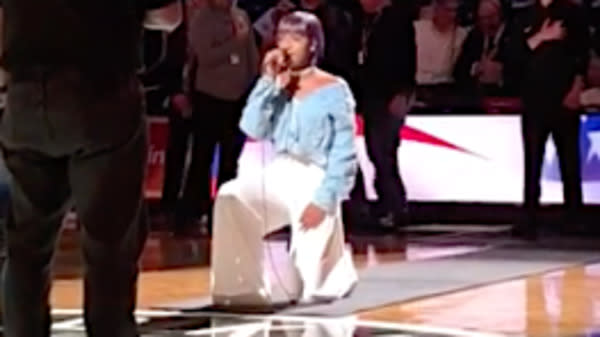 National Anthem Singer Takes A Knee Before Brooklyn Nets Home Opener