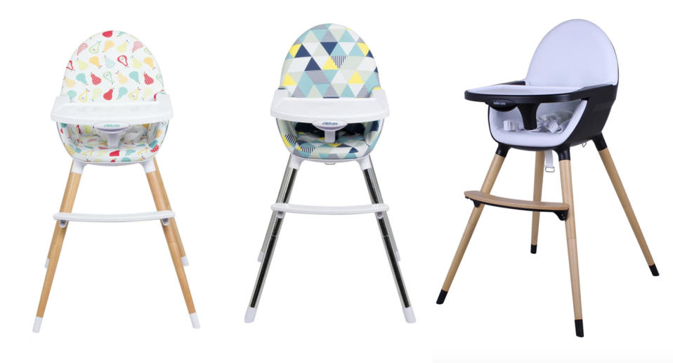 LEFT: The Childcare Pod High Chair. MIDDLE: The Childcare Coda High Chair RIGHT: The Bebecare Pod Nui High Chair. Source: CNP Brands