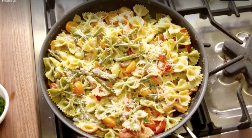 """<p>For a meat-free holiday dinner that's heavy on the veggies and ready in less than 30 minutes, this creamy pasta dish can't be beat. </p><p><em><a href=""""https://www.delish.com/cooking/recipe-ideas/recipes/a46796/bowtie-primavera-recipe/?visibilityoverride"""" rel=""""nofollow noopener"""" target=""""_blank"""" data-ylk=""""slk:Get the recipe for Bowtie Primavera »"""" class=""""link rapid-noclick-resp"""">Get the recipe for Bowtie Primavera »</a></em></p><p><strong>RELATED:</strong> <a href=""""https://www.goodhousekeeping.com/holidays/christmas-ideas/g4045/vegetarian-christmas-dinner/"""" rel=""""nofollow noopener"""" target=""""_blank"""" data-ylk=""""slk:38 Hearty Recipes for the Vegetarian Christmas Dinner of Your Dreams"""" class=""""link rapid-noclick-resp"""">38 Hearty Recipes for the Vegetarian Christmas Dinner of Your Dreams</a></p>"""