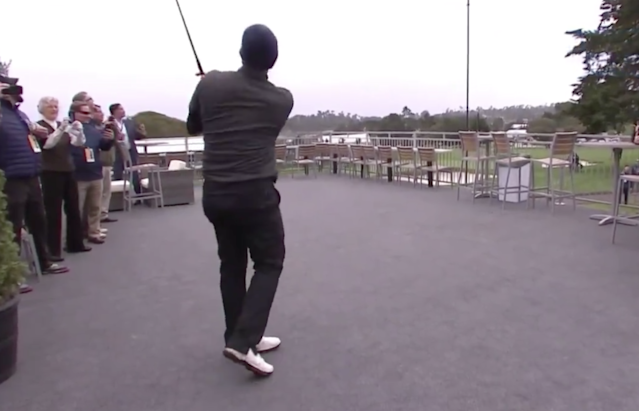 Not even Tony Romo could have predicted Tony Romo's shot from a tent at the AT&T; Pebble Beach Pro-Am.