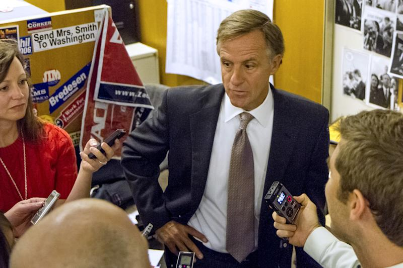 CORRECTS MONTH IN DATE - Gov. Bill Haslam speaks to reporters during an impromptu visit in the press suite at the legislative office complex in Nashville, Tenn., on Tuesday, April 16, 2013. The Republican governor said he still doesn't know why federal agents searched the Knoxville headquarters of the family-owned Pilot Flying J chain of truck stops. (AP Photo/Erik Schelzig).