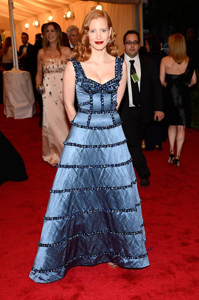 Jessica Chastain attends the 2012 Costume Institue Gala at the Metropolitan Museum of Art in New York City, NY on May 8, 2012.