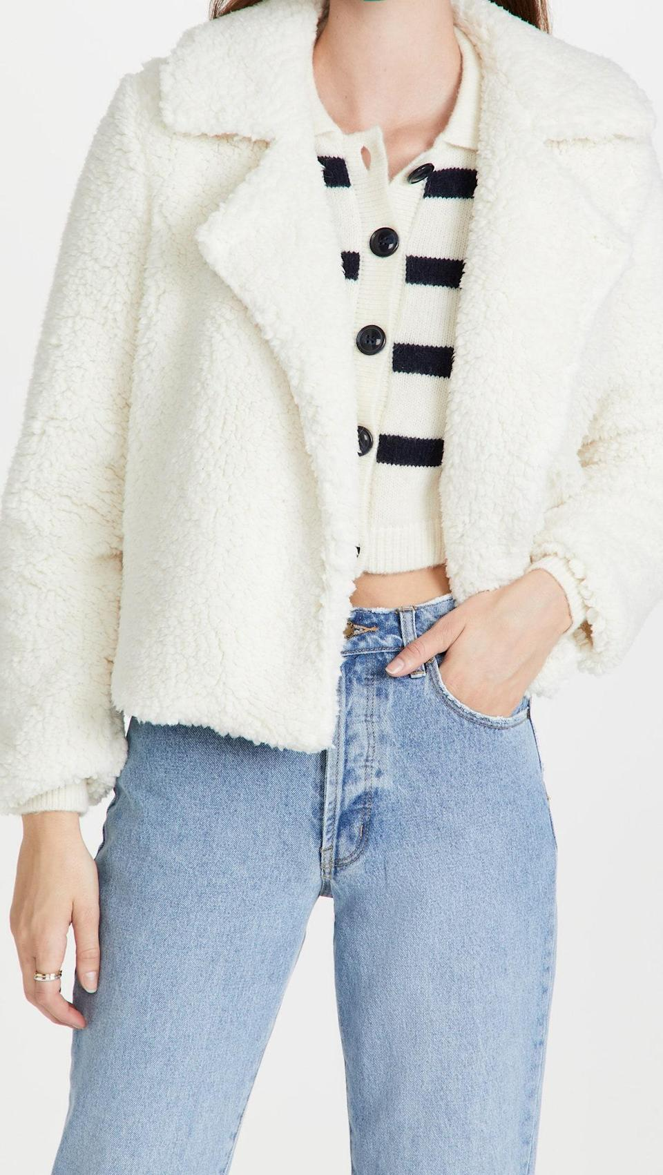 """This cropped number will complement just about any fall outfit you put together, from printed long-sleeve midis to baby tees and <a href=""""https://www.glamour.com/gallery/where-to-buy-your-next-pair-of-jeans?mbid=synd_yahoo_rss"""" rel=""""nofollow noopener"""" target=""""_blank"""" data-ylk=""""slk:baggy jeans"""" class=""""link rapid-noclick-resp"""">baggy jeans</a>. $89, Shopbop. <a href=""""https://www.shopbop.com/teddy-she-goes-jacket-bb/vp/v=1/1587305046.htm"""" rel=""""nofollow noopener"""" target=""""_blank"""" data-ylk=""""slk:Get it now!"""" class=""""link rapid-noclick-resp"""">Get it now!</a>"""