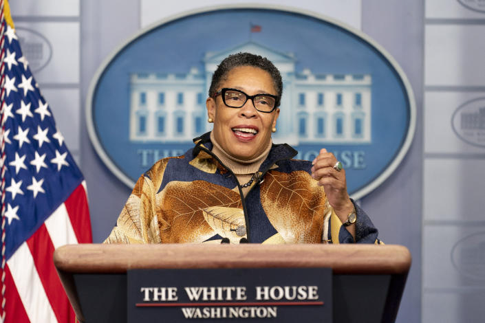 Housing and Urban Development Secretary Marcia Fudge speaks during a press briefing at the White House, Thursday, March 18, 2021, in Washington. (AP Photo/Andrew Harnik)