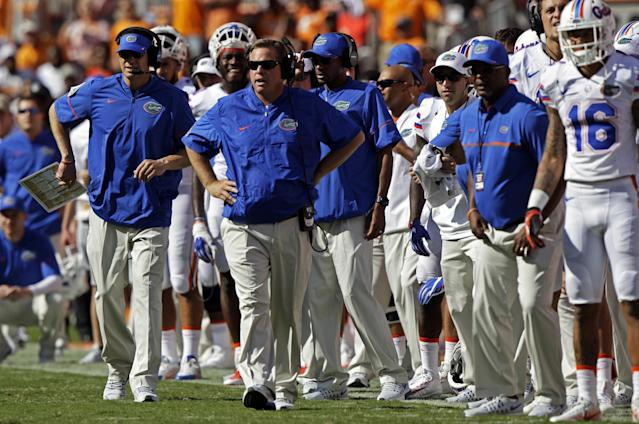 The second half was a struggle for Jim McElwain and Florida. (AP Photo/Wade Payne)