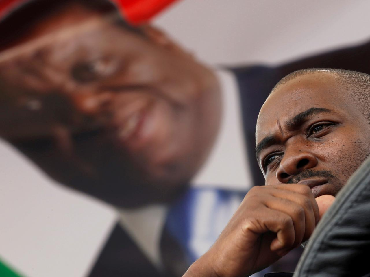 Nelson Chamisa, the new leader for Movement For Democratic Change (MDC), looks on during the funeral parade of Morgan Tsvangirai in Harare, Zimbabwe February 19, 2018. REUTERS/Philimon Bulawayo     TPX IMAGES OF THE DAY