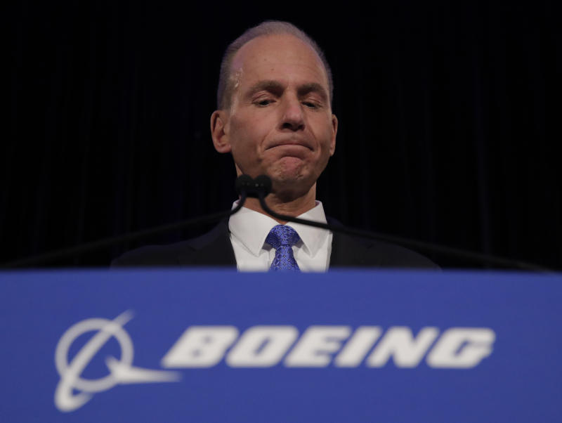 CHICAGO, ILLINOIS - APRIL 29: Boeing Chief Executive Dennis Muilenburg pauses during a press conference after the annual shareholders meeting at the Field Museum on April 29, 2019 in Chicago, Illinois. Boeing announced earnings fell 21 percent in the first quarter after multiple crashes of the company's bestselling plane the 737 Max. (Photo by Jim Young-Pool/Getty Images)
