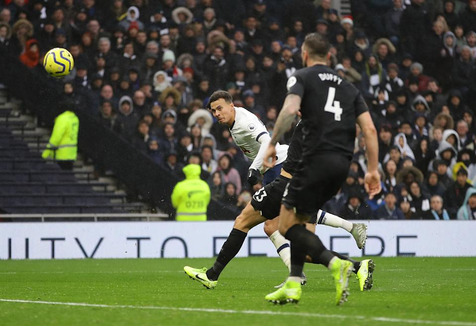LONDON, ENGLAND - DECEMBER 26:  Dele Alli of Tottenham Hotspur scores his teams second goal during the Premier League match between Tottenham Hotspur and Brighton & Hove Albion at Tottenham Hotspur Stadium on December 26, 2019 in London, United Kingdom. (Photo by Richard Heathcote/Getty Images)