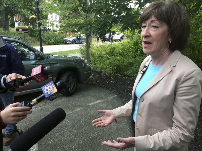 """U.S. Sen. Susan Collins (R-Maine), speaks to the media on Friday, Sept. 21, 2018, in Portland, Maine. Collins said she's """"appalled"""" by President Donald Trump's tweet criticizing Christine Blasey, accuser of Supreme Court nominee Brett Kavanaugh. (AP Photo/Patrick Whittle)"""