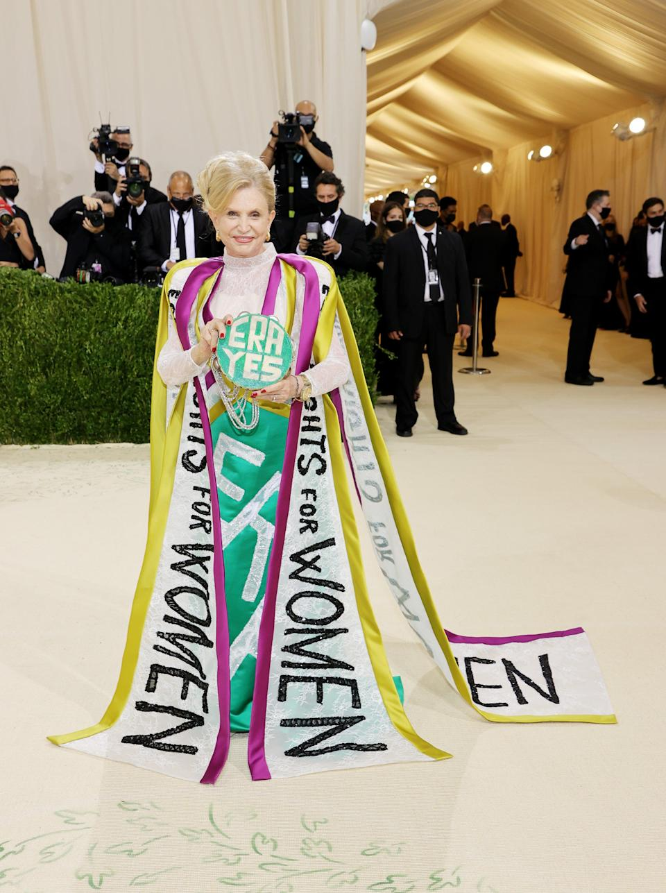 """<h2>Congresswoman Carolyn B. Maloney</h2><br>As a longtime advocate in Congress of the effort to pass an Equal Rights Amendment to the Constitution, who better to wear an ode to the ERA on the Met Gala red carpet than Congresswoman Carolyn B. Maloney. <span class=""""copyright"""">Photo by Mike Coppola/Getty Images.</span>"""