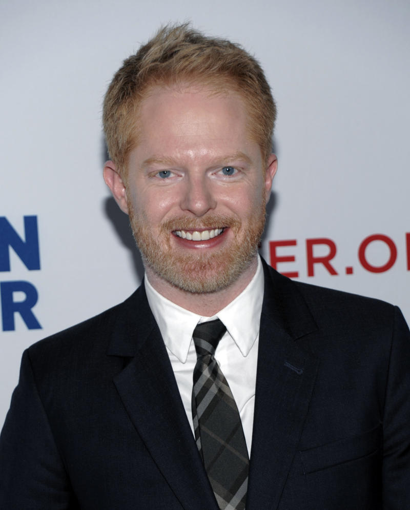 "FILE - In this March 3, 2012 file photo, actor Jesse Tyler Ferguson arrives at the Los Angeles premiere of the play ""8"" in Los Angeles. Ferguson, a 2012 Emmy nominee, jokes that a flask of vodka and maybe a Quaalude helps to calm award show nerves. (AP Photo/Dan Steinberg, File)"