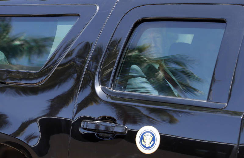 President Donald Trump and first lady Melania Trump depart after Easter services at the Episcopal Church of Bethesda-by-the-Sea, Sunday, April 16, 2017, in Palm Beach, Fla. (AP Photo/Alex Brandon)