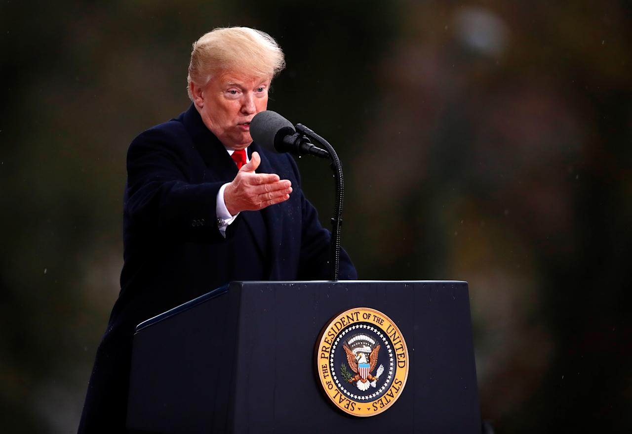 <p>President Donald Trump delivers a speech during a visit at the Suresnes American Cemetery as part of the Paris commemoration ceremony for Armistice Day, 100 years after the end of the First World War, France, Nov. 11, 2018. (Photo: Christian Hartmann/Pool/Reuters) </p>