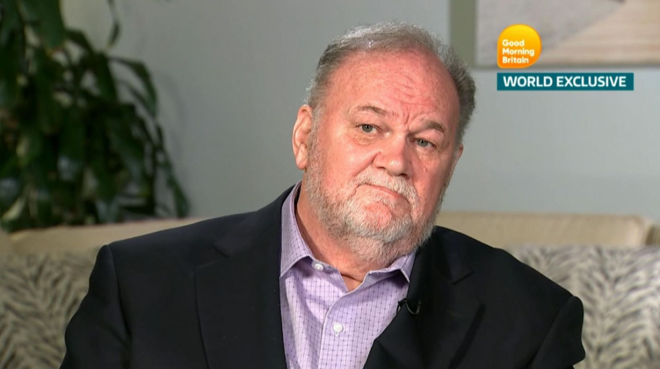 Thomas Markle says he can no longer contact his daughter, Meghan, and thinks she and Prince Harry may be better off if he weren't alive. (Photo: ITV)