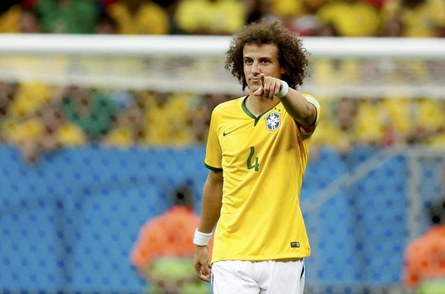 Brazil's David Luiz gestures during the 2014 World Cup third-place playoff between Brazil and the Netherlands at the Brasilia national stadium in Brasilia July 12, 2014. REUTERS/Ueslei Marcelino (BRAZIL - Tags: SOCCER SPORT WORLD CUP)