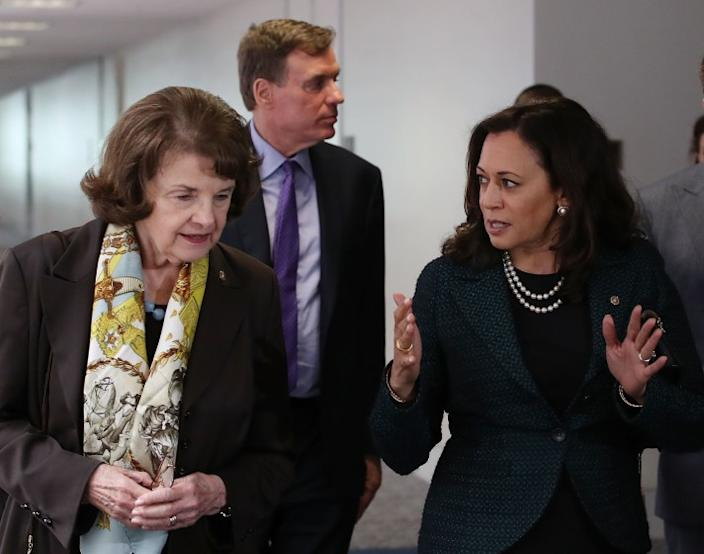 California Sens. Dianne Feinstein, left, and Kamala Harris.