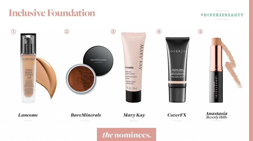 <p>Lancome, BareMinerals, Mary Kay, Cover FX, and Anastasia Beverly Hills. </p>