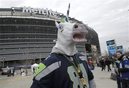 A Seattle Seahawks fan walks through the parking lot before the start of the NFL Super Bowl XLVIII football game against the Denver Broncos in East Rutherford, New Jersey, February 2, 2014. REUTERS/Andrew Kelly