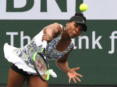 Mar 10, 2018; Indian Wells, CA, USA; Venus Williams (USA) during her second round match against Sorana Cirstea (not pictured) in the BNP Paribas Open at the Indian Wells Tennis Garden. Mandatory Credit: Jayne Kamin-Oncea-USA TODAY Sports